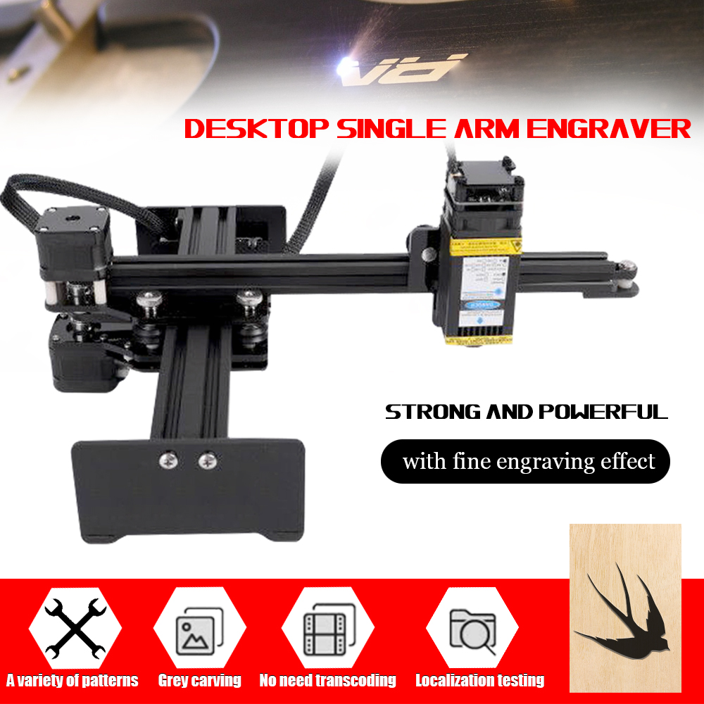 7W Desktop Single Arm Engraver Portable DIY Engraving Carving Machine Mini Carver 110-240V Laser Cnc Wood Router