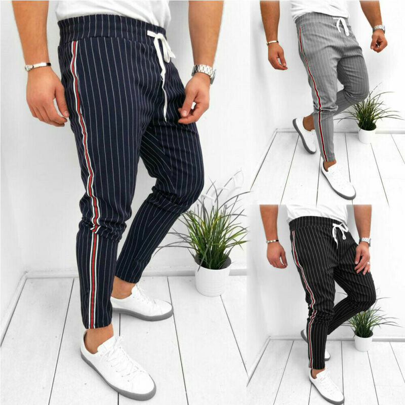 Mens Stylish Twill Jogger Long Trousers Urban Hip Hop Harem Casual Trousers Slim Fit Drawstring Stripe Trousers