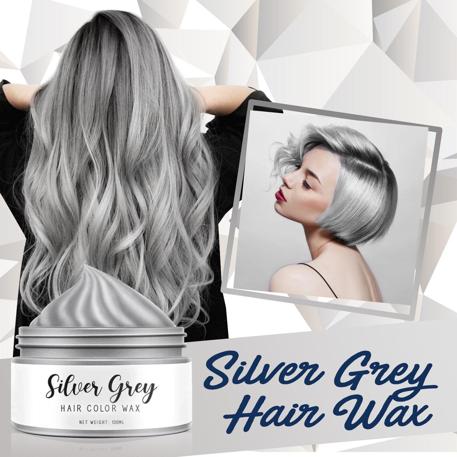 Prata cinza cor do cabelo cera temporária cores cabelo tintura beleza cuidados cabelo estilo cera 1/3.4 oz nin668