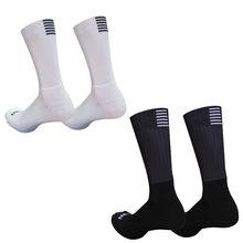 Novo silicone anti derrapante sem costura ciclismo meias men pro aero meias respirável wearproof bicicleta de estrada calcetines ciclismo