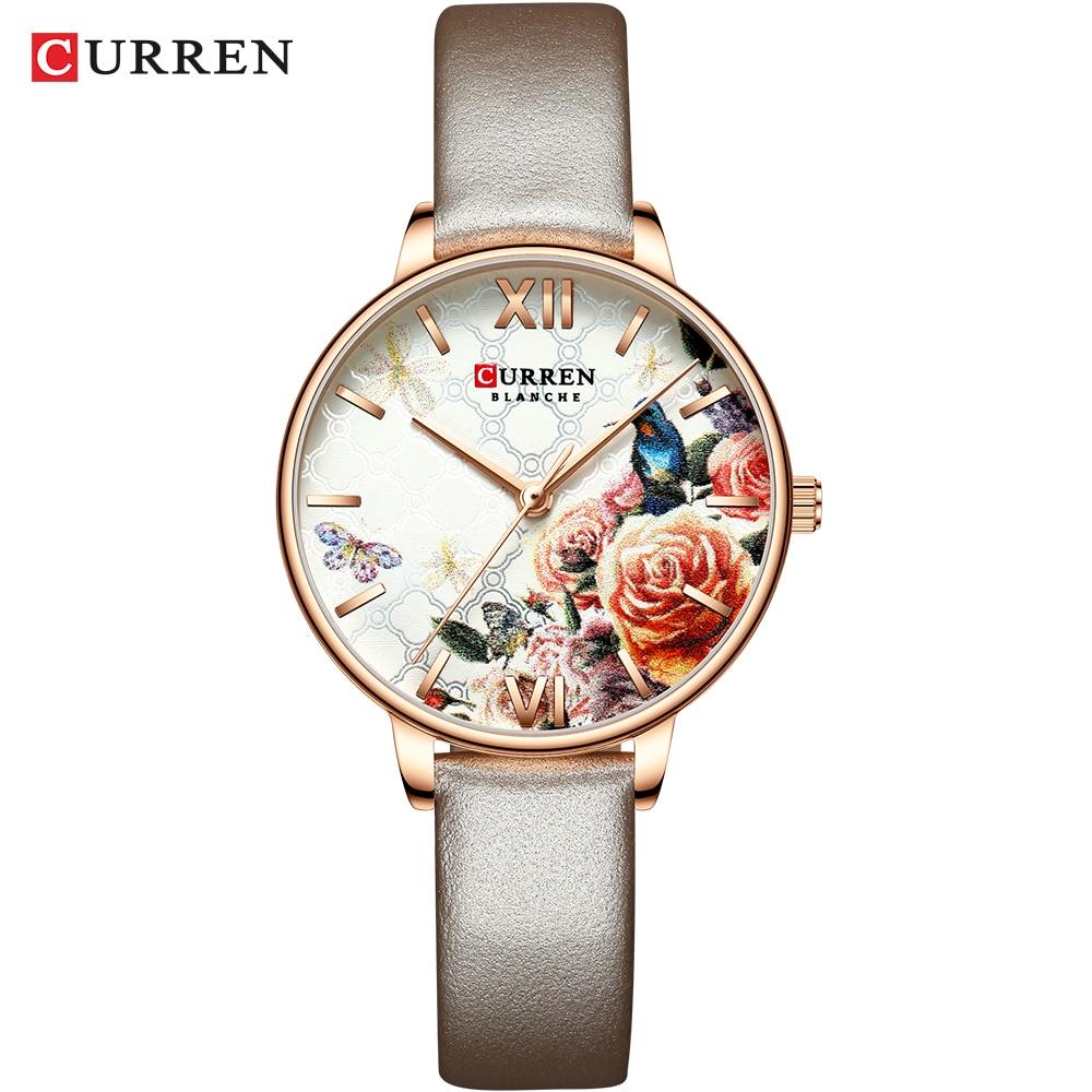 CURREN Beautiful Flower Design Watches Women Fashion Casual Leather Wristwatch Ladies Watch Female Clock Women's Quartz Watch 7