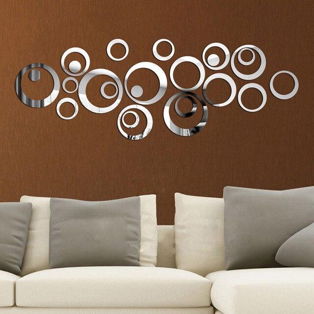 24Pcs/Set Fashion Delicate 3D Circle Decorative Mirror Sticker Home Wall Stickers Creative DIY Living Room Decoration 1
