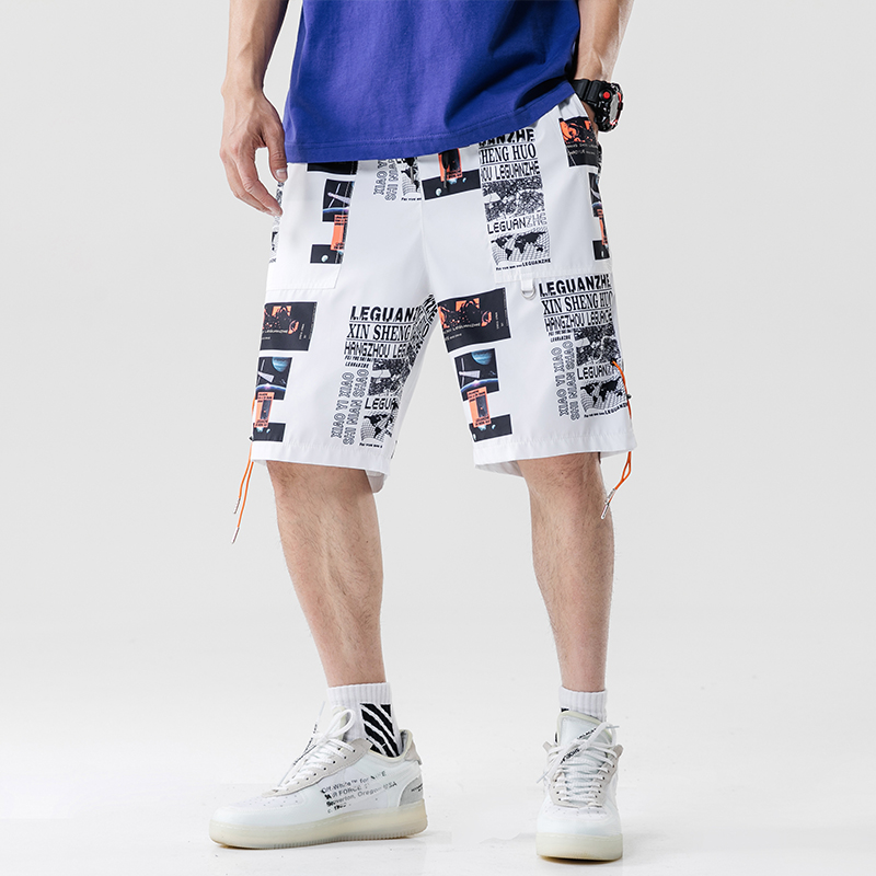 2020 Hip Hop Cargo Shorts Streetwear Print Harajuku Jogger Shorts Summer HipHop Men Track Short Sweatpant Pockets Short Pants