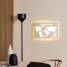 Современная светодиодный енная лампа с картой мира минималистичное