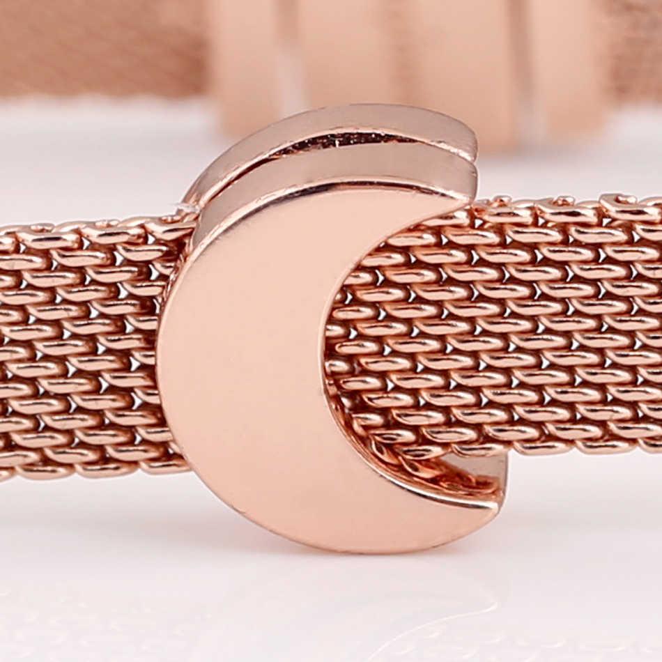 Oryginalne różowe złoto refleksje księżyc klip korek blokady koraliki Fit 925 Sterling Silver Charm bransoletka pandora bransoletka biżuteria zrób to sam