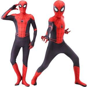 spider costume man child adult cosplay verses spider Miles Morales Extraordinary Zentai Spider pattern Bodysuits Anime Halloween