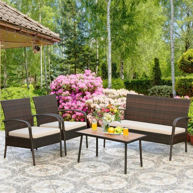 4PCS Patio Conversation Furniture Set  3