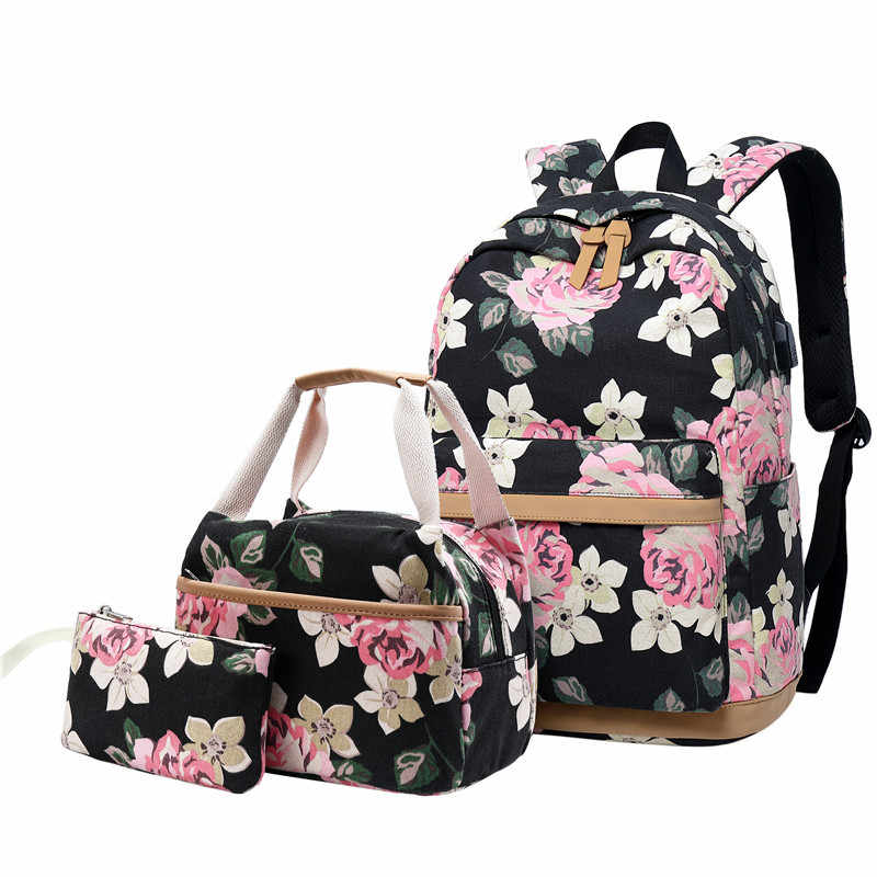 atinfor Brand 3pcs/Set Floral School Backpacks for Teen Girls School Bags Lightweight Canvas Backpack Travel Bookbags Set