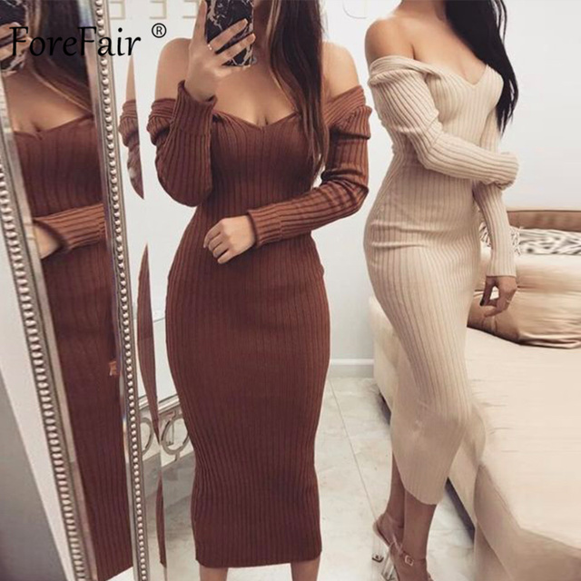 Forefair Long Sleeve V Neck Bodycon Ribbed Knit Dress Women Autumn Winter Solid Slim Midi Women Dress 1