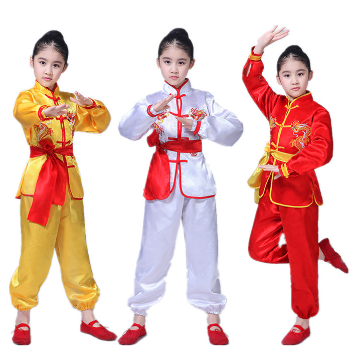 2019 Chinese Wushu Uniform Kung Fu Clothing Martial Arts Suit Dragon Embroidery Changquan Costume For Girl Boy Children Kids