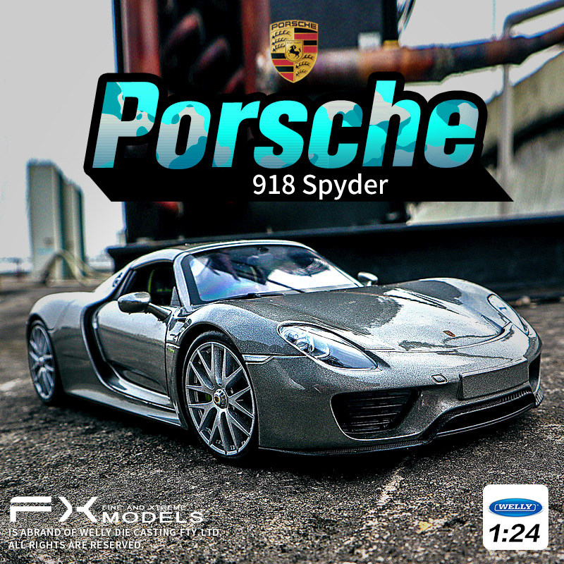Welly 1:24 Porsche 918 Spyder Car Alloy Car Model Simulation Car Decoration Collection Gift Toy Die Casting Model Boy Toy