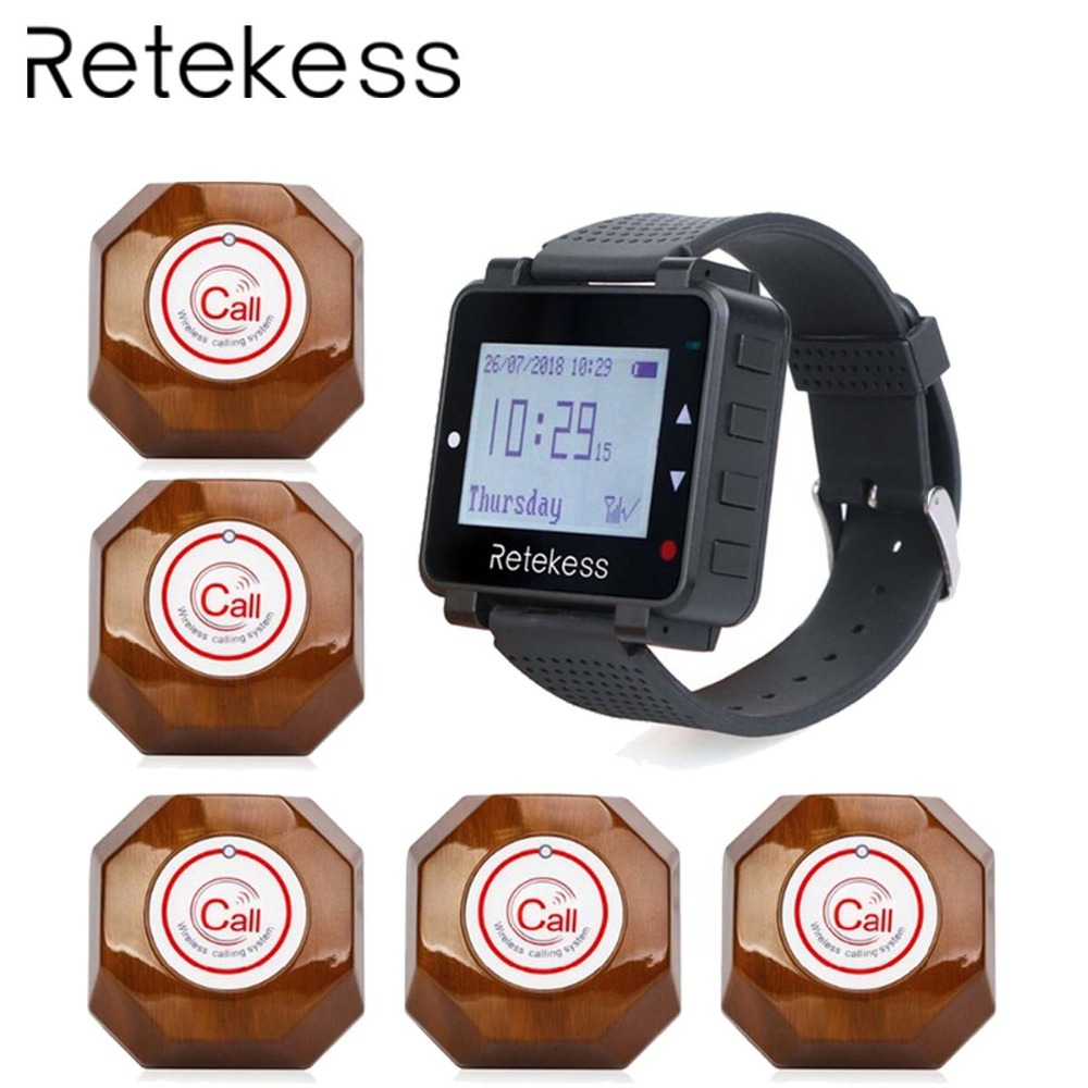 RETEKESS Restaurant Pager Waiter Wireless Calling System Table Call Bell Pager 1 Watch Receiver 5 Call