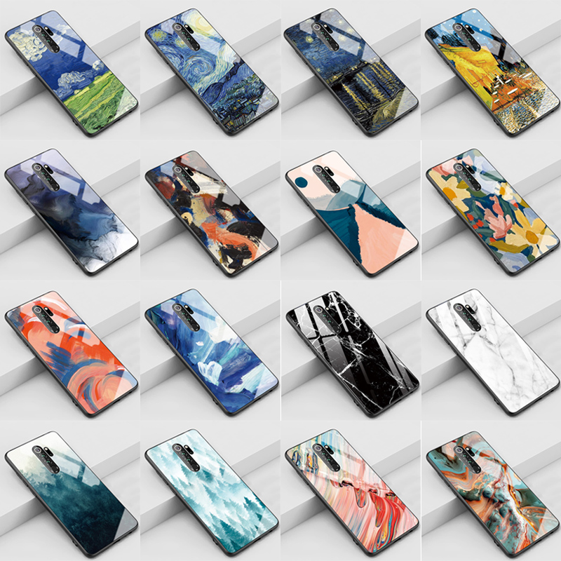 Glossy Stained tempered <font><b>glass</b></font> <font><b>case</b></font> for <font><b>samsung</b></font> galaxy a50 a10 a20 a30 a40 phone cover on for <font><b>samsung</b></font> a60 a70 a80 a50s a30s coque image
