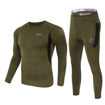 ESDY Winter Thermal Underwear Sets Quick Dry Sport Suit Running T-shirt Set Breathable Tight Long Tops & Pants Moto Jacket+Pants 8