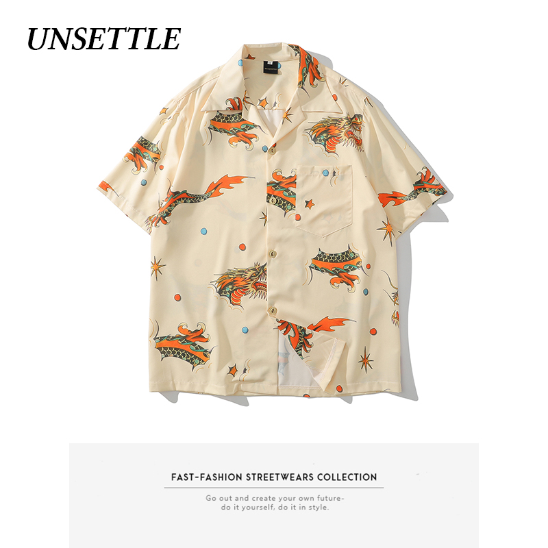 UNSETTLE 2020SS Men Summer Chinese Dragon Print Hawaiian Shirts Hip Hop Streetwear Fashion Casual Short Sleeve Button Down Tops