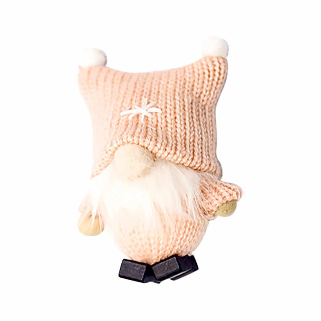 Natal Liontin Bahasa Swedia Santa Wol Lucu GNOME Boneka Boneka Natal Liontin Natal Pohon Dekorasi Navidad 2019