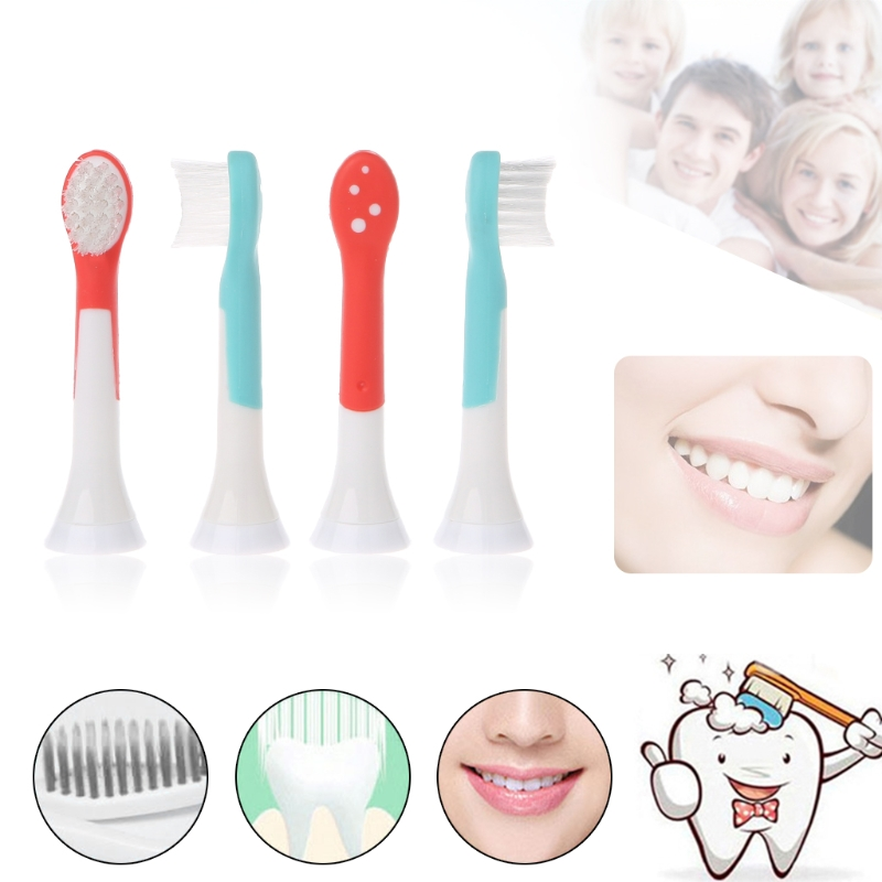 4pc Child Heads for Sonicare Kids <font><b>HX6034</b></font> Replacement Electric Toothbrush D0AB image