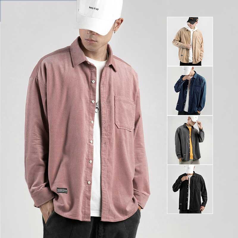 Camisas New Corduroy Men Shirt Oversize Flannel Cardigan Spring Autumn Fashion Shirts Men Solid Turndown New Casual Tops Joker