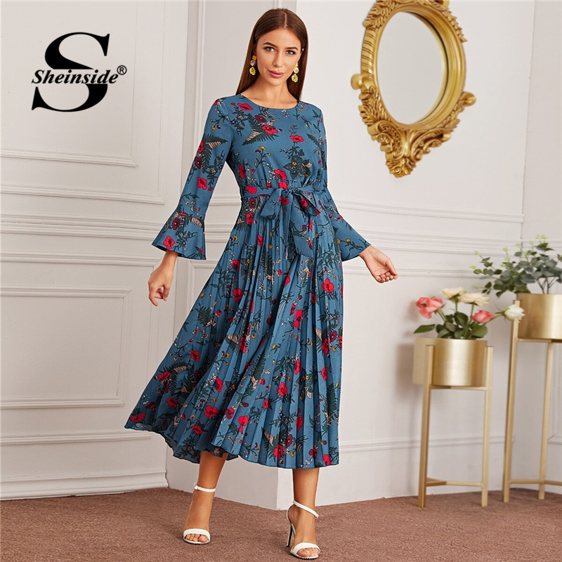 Sheinside Blue Floral Print Pleated Dress Women 2019 Autumn Flounce Sleeve A Line Dresses Ladies Front Knot Detail Maxi Dress SHEINSIDE Women Women's Sheinside Collection