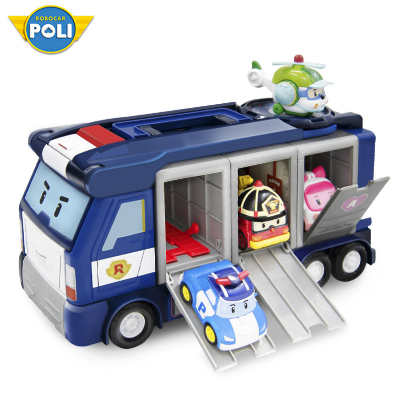 Original Robocar Poli Acion Figure siège social de sauvetage ensemble parking stockage entrepôt bus scolaire alliage voiture jouet cadeau
