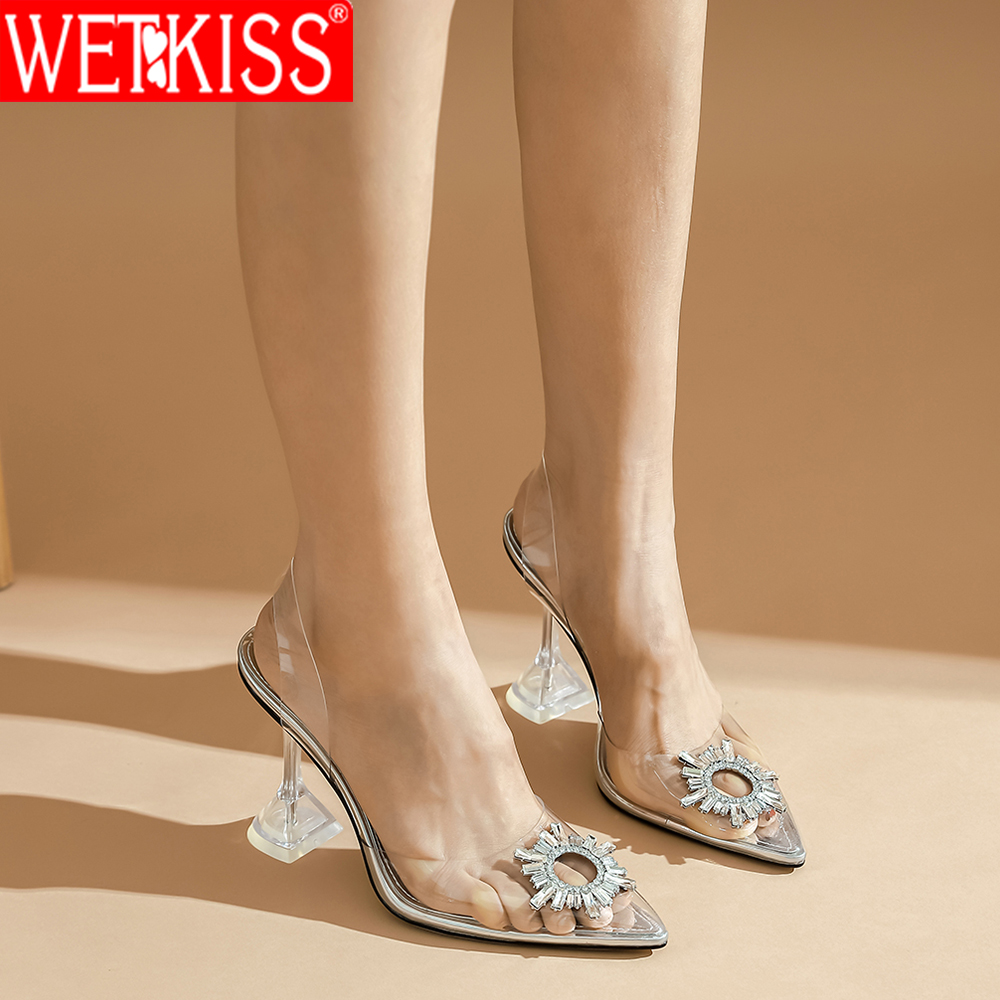 Wetkiss Women Sandals Clear High Heels Sandals Transparent Pvc Slip On Sexy Shoes Women Pointed Toe Wedding Party Summer Shoes