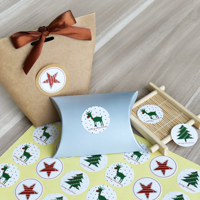 1 Sheet Christmas Sticker Elk Christmas Tree Deer Star Design Paper Label Baking Gift Sticker Merry Christmas Stationery Sticker