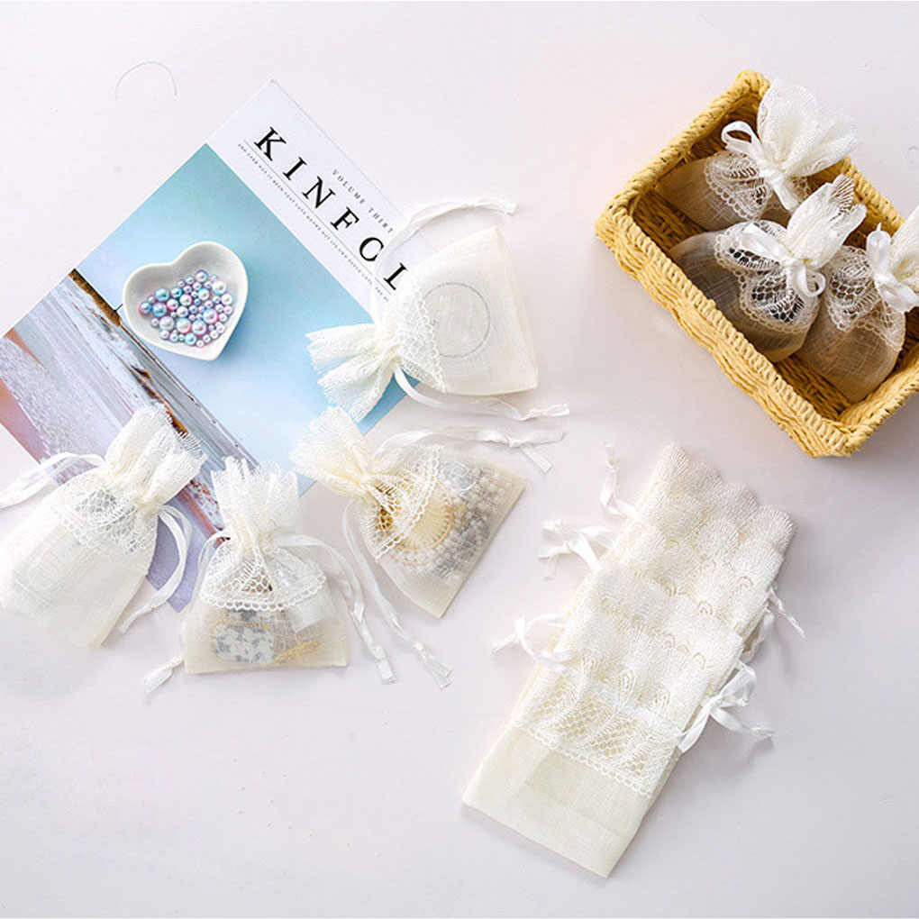 White Wedding Candy Koord Bag Veer Kant Sieraden Gedroogde Bloemen Opbergtas Slub Garen Gift Pouch Nieuwe