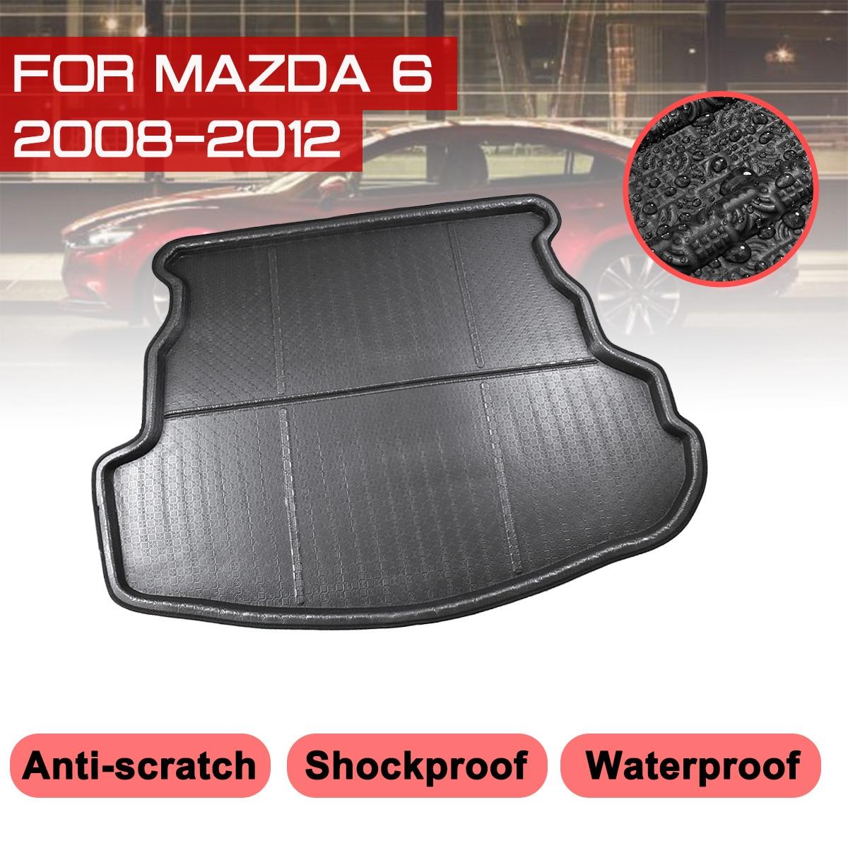 Car Rear Trunk Boot Mat For Mazda 6 2008 2009 2010 2011 2012 Waterproof Floor Mats Carpet Anti Mud Tray Cargo Liner   - title=