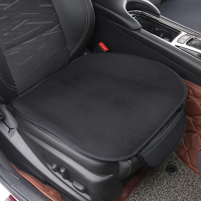 Car 1PCs/Set Car Seat Cushion Non-Slip Cover Velvet Plush For logo R mk4 mk5 passat b8 b7 b6 golf 5 6 7 1