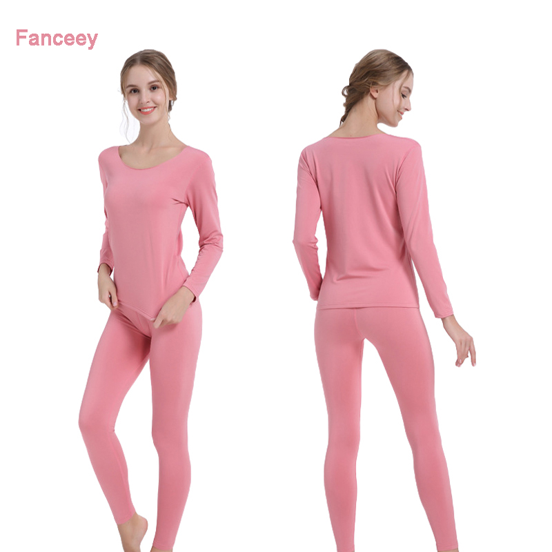 Fanceey Thermal Clothing Winter Thermal Underwear For Women Second Skin Fleece Winter Female Long Johns For Women Thermal Suit