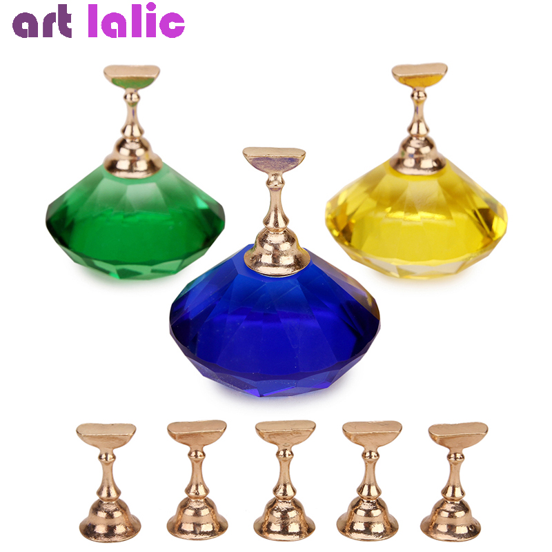 Large Magnetic Nail Tips Holder + 5 Practice Training Display Stand Crystal Alloy False Nail Art Showing Shelf Manicure Tool