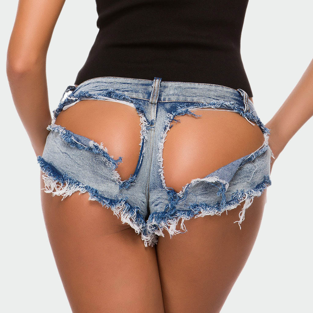 Women Sexy Mini Short Low Waist Jeans Booty Shorts Denim Hole Short Beach Hot Girl Club Party Bottom Sexy Short Streetwear Z0113