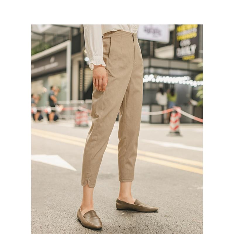 Image 3 - INMAN Spring Autumn Minimalism Medium Waist Split Slim Slit Khaki Women Casual PantsPants & Capris   -