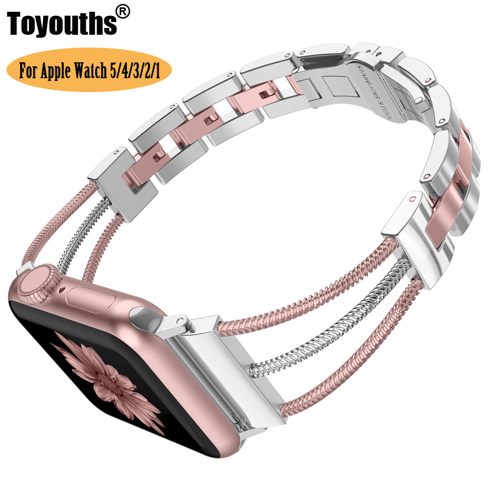 Womens Stainless Steel Bands For Apple Watch Women Bracelet Removal Links Strap With Jewelry Buckle For IWatch Series 5 4 3 2 1