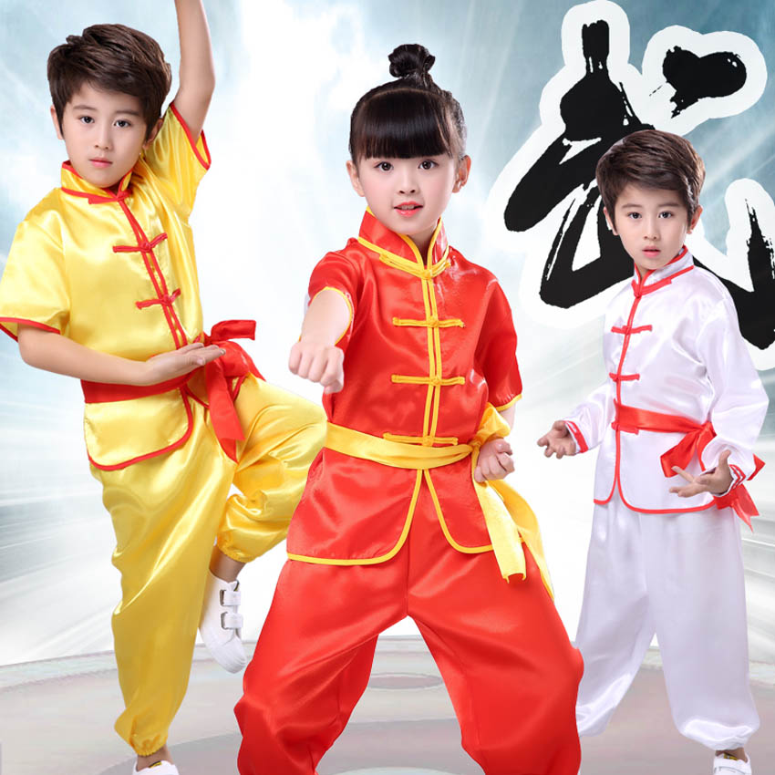 100-180cm Teem Performance Stage Play Costumes 3PCs Kids Clothing Set Adult Men Chinese Kung Fu Suit Tai Chi Outfit