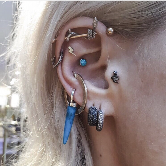 UVW340 1pc Punk Multi Use Surgical Steel Snake Animal Industrial Cartilage Earrings Stud for Women Tragus.png 640x640 - UVW340 1pc Punk Multi-Use Surgical Steel Snake Animal  Industrial Cartilage Earrings Stud for Women Tragus Body Piercing Jewelry