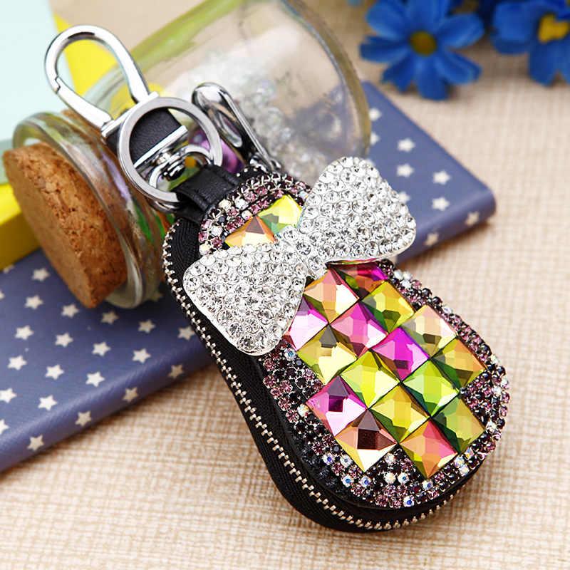 Moda saco chave qualidade cristal austríaco couro senhoras cintura chave zíper saco de armazenamento chave do carro chaveiro