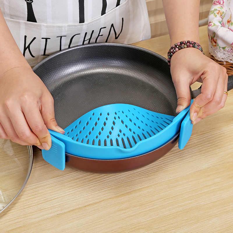 Hot Koop Keuken Siliconen Colanders Keuken Clip Op Pot Zeef Afdruiprek Voor Vloeibare University Aftappen Pasta Groente Tool