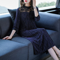 2019 Vintage Fall Womens Female Stand Collar 3/4 Sleeve Lace Patchwork Purple Long Dress , 4xl Glitter Elegant Dresses for Women