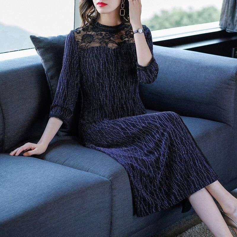 2019 Vintage automne femmes femme col montant 3/4 manches dentelle Patchwork violet longue robe, 4xl paillettes élégantes robes pour les femmes