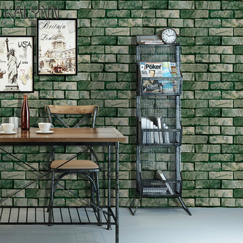 цена на Retro wallpaper self-adhesive 3D stereo wall stickers retro brick pattern waterproof restaurant background wall wallpaper mural