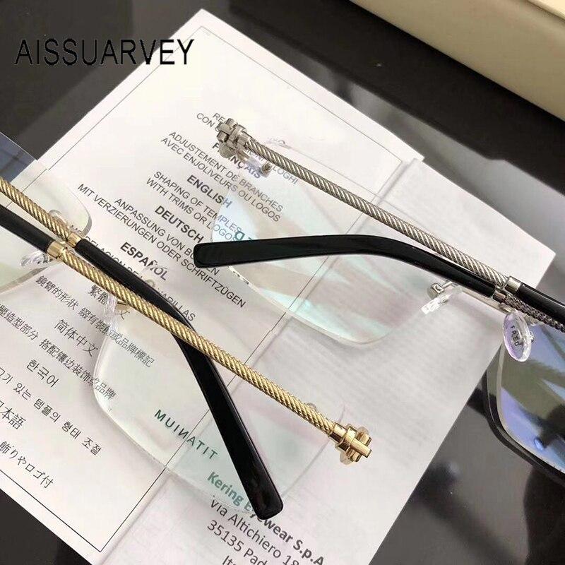 Titanium Glasses Frame Men Eyeglasses Frames Men Fashion Designer Rimless Gold Glasses Top Quality Optical Prescription Eyewear