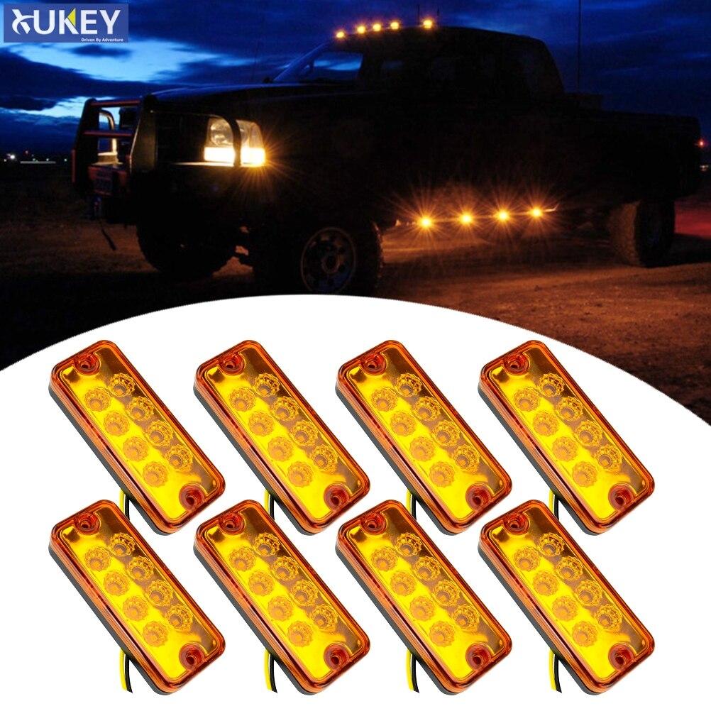 8Pcs 12V Seite Marker Licht Lampe 8 LEDs Hinten Schwanz Lkw-anhänger Lkw Freiheit Anzeige Lampe Gelb Van caravan Auto Bus