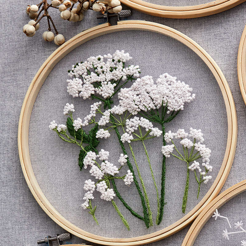 European Mesh embroidery DIY Flowers Painting Full Needlework Cross Stitch Kits Embroidery Sets Diy Embroidery for beginners