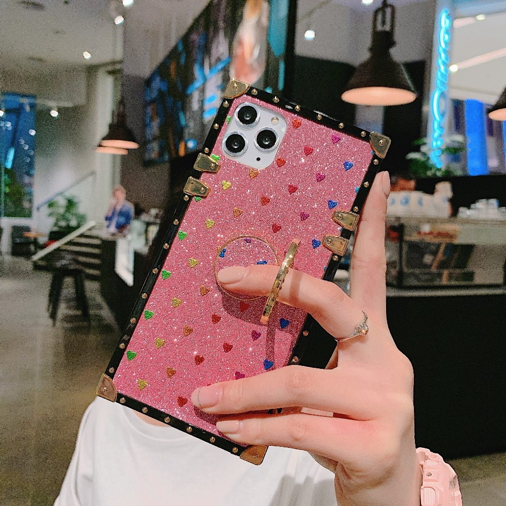 Cases For iPhone 11 Pro Max Xr Xs Max Coque Square Diamond Stand Love Heart Bling Sequins Case For iPhone X 6 6S 7 8 Plus Cover (3)