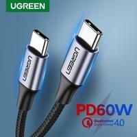 Ugreen-Cable USB tipo C de carga rápida 4.0, para Samsung S20 PD, 60W, para MacBook Pro, iPad Pro 2020