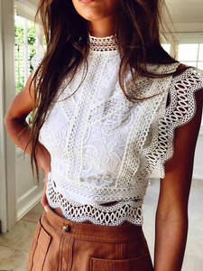 Aproms Tank-Tops Crop-Top Crochet Lace White Hollow-Out High-Neck Summer Sexy Women Zipper
