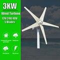 Ветряная мельница с 5 лопастями, 3000 Вт, 12 В, 24 В, 48 В