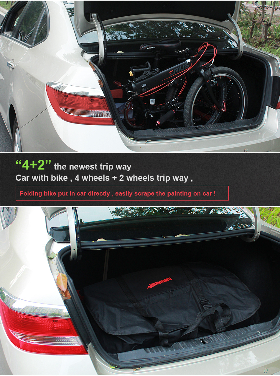 Flash Deal Rhinowalk 14 inch 20 inch Folding Bike Bag Loading Vehicle Carrying Bag Pouch Packed Car Thickened Portable Bicycle Pack 24