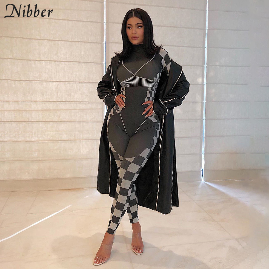 NIBBER Black Retro Plaid Print Stripe Patchwork Jumpsuit Women Long Sleeves Sports Fitness Casual Active Jumpsuits 2020 Spring
